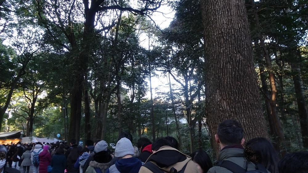 明治神宮の例年の初詣の御朱印の待機列