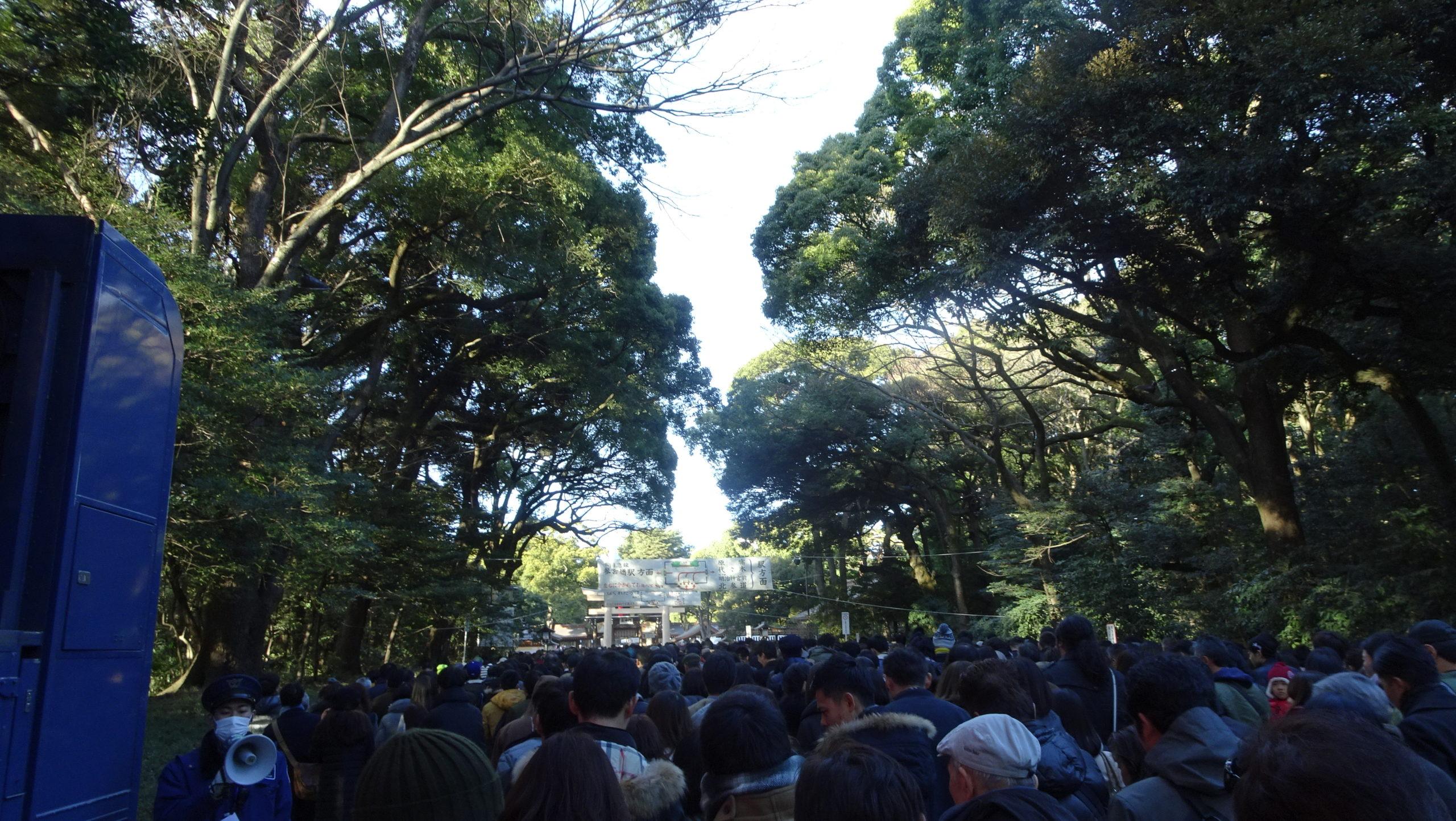 明治神宮の例年の参道の混雑状況の模様