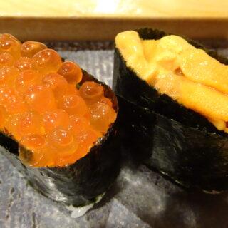 すすきのにある鮨処竜敏のウニとイクラ