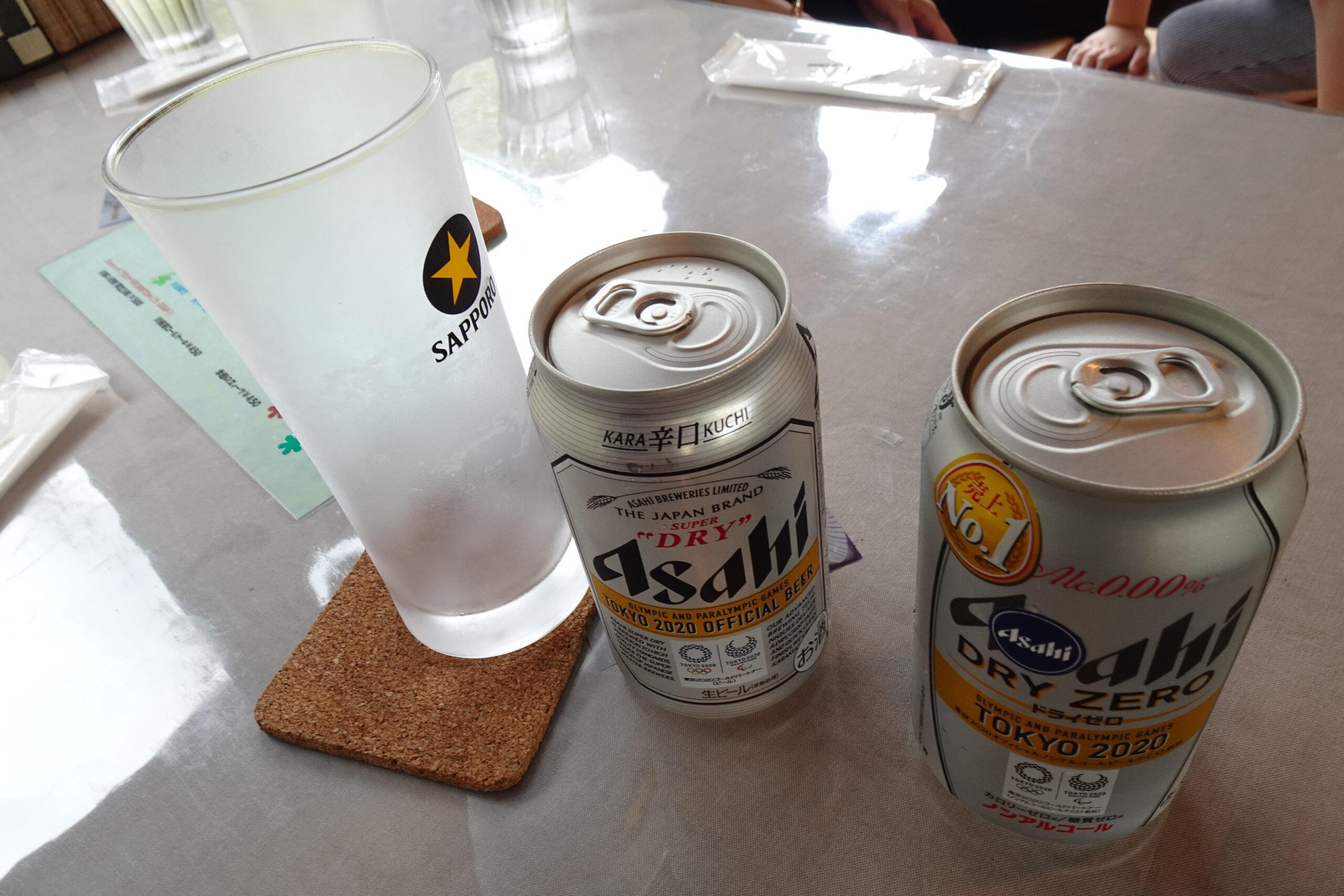 千頭駅近くのカフェグランマのビール