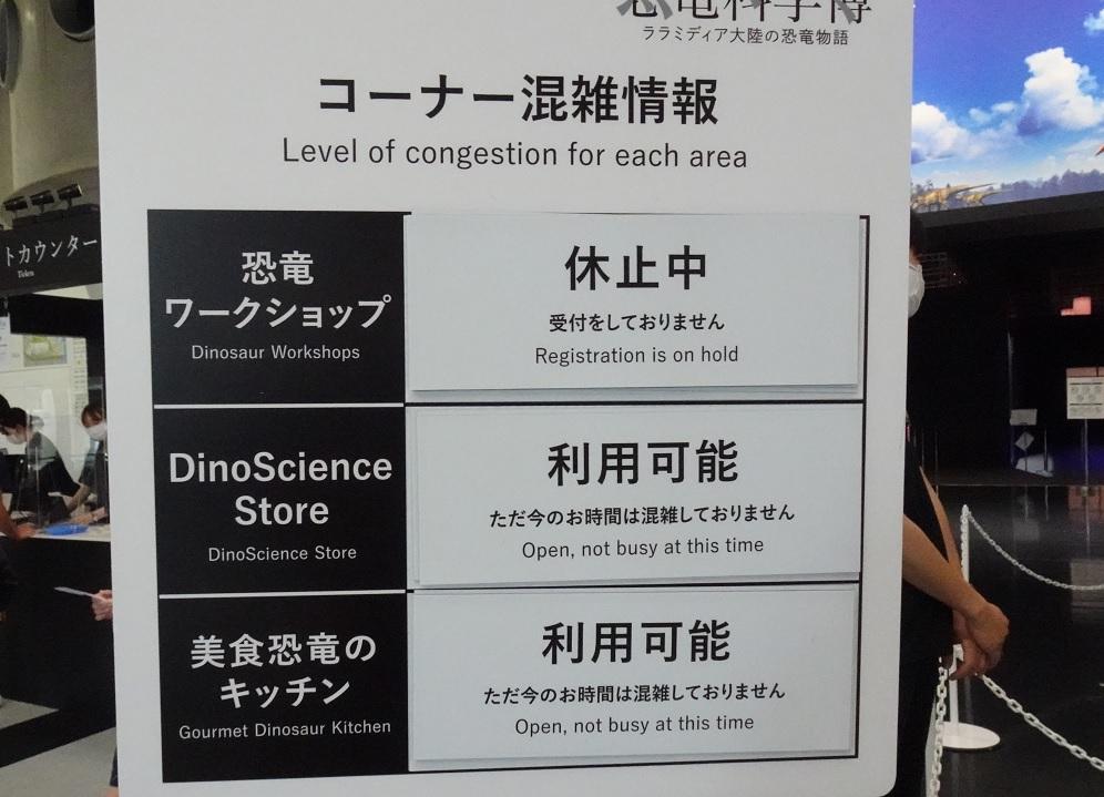 恐竜科学博の美食恐竜のキッチンは空いています。