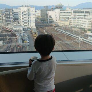 都シティ近鉄京都駅のコーナーツインからのトレインビューは子どもに大人気!