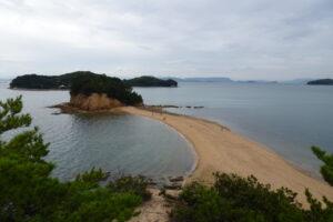 小豆島のエンジェルロードの干潮時の展望
